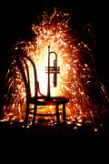 Music Time Metal Prints - Chair and horn with fireworks Metal Print by Garry Gay