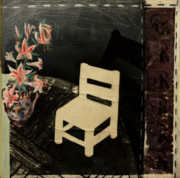 Chair Mixed Media Originals - Chair and Lilies by Peter Allan