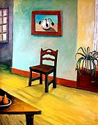 Skewed Painting Prints - Chair and Pears Interior Print by Michelle Calkins
