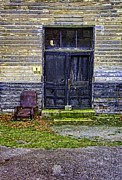 Front Porch Framed Prints - Chair by Door of Abandoned Building Framed Print by Jill Battaglia