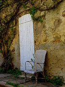 France Doors Framed Prints - Chair by the White Door Framed Print by Lainie Wrightson