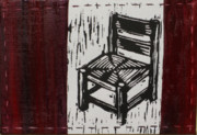 Lino Print Mixed Media Framed Prints - Chair I Framed Print by Peter Allan