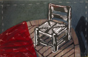 Lino Print Mixed Media Framed Prints - Chair II Framed Print by Peter Allan