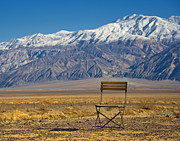 Landscape; Mountainous; Mountains; Nature; Nobody; Outdoors; Outside; Steppe; Steppes; Stones; The Altay Mountains; Tourism Prints - Chair in Mountainous, Desert Landscape Print by David Buffington