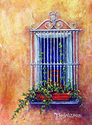 Tuscan Pastels Posters - Chair in the Window Poster by Tanja Ware