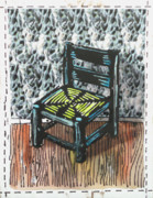 Lino Mixed Media Prints - Chair IX Print by Peter Allan