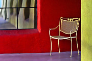 Painterly Photos - Chair on the Balcony by Carol Leigh