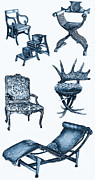Chaise Drawings Posters - Chair poster in blue Poster by Lee-Ann Adendorff