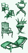 Chaise Drawings Posters - Chair poster in green  Poster by Lee-Ann Adendorff