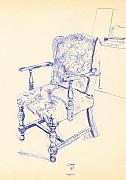 Chair Drawings Prints - Chair Print by Ron Bissett