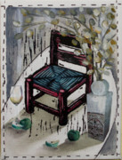 Lino Mixed Media Prints - Chair X Print by Peter Allan