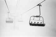 Three Objects Framed Prints - Chairlift In The Fog Framed Print by Brian Caissie