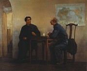 Revolutionaries Prints - Chairman Mao Meets With Comrade Norman Print by Everett