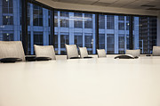 Office Space Metal Prints - Chairs and Table in a Conference Room Metal Print by Jetta Productions, Inc