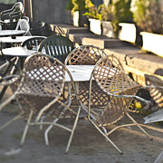 Al Fresco Photo Posters - Chairs Leaning Up Against a Table Poster by Eddy Joaquim