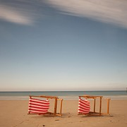 Outdoor Chair Posters - Chairs On Beach Poster by Christiane Michaud