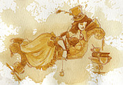 Women Glass Framed Prints - Chaise Framed Print by Brian Kesinger