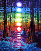 Chakra Rainbow Painting Prints - Chakra Meditation in the Redwoods Print by Laura Iverson