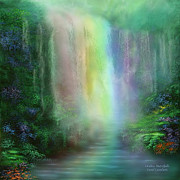 Healing Art Prints - Chakra Waterfalls Print by Carol Cavalaris