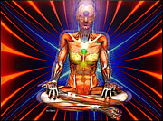 Trippy Digital Art - Chakras by Scott Claudy
