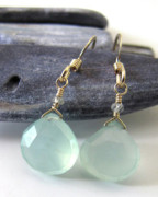 Coastal Jewelry - Chalcedony Ear Drops by Adove  Fine Jewelry