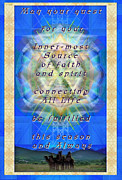 Chalicebridge.com Posters - Chalice Star over Three Kings Holiday Card Light with Text Poster by Christopher Pringer