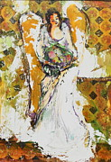 Garden Scene Mixed Media Metal Prints - Chalk Angel Metal Print by Claire Sallenger Martin