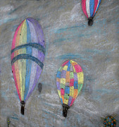 Colorful Photos Drawings Posters - Chalk Drawing of Hot Air Balloons Poster by Thomas Woolworth