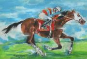 Jockey Painting Originals - Chamberlain wins by Mary Armstrong