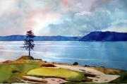 Us Open Painting Framed Prints - Chambers Bay 15th hole Framed Print by Scott Mulholland