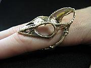 Lizard Jewelry - Chameleon Skull Finger Ring by Michael  Doyle