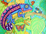 Tropical Drawings Posters - Chamelion and Rainforest Frogs Poster by Nick Gustafson