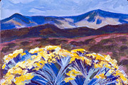 Yello Paintings - Chamisa and Mountains of Santa Fe by Betty Pieper