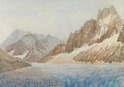 Mountain Snow Landscape Paintings - Chamonix by SIL Severn