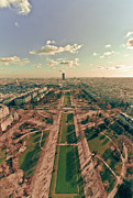 Champ De Mars Prints - Champ De Mars From Eiffel Tower Print by Photo by Volanthevist