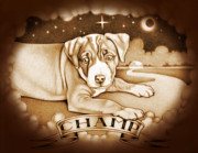 Puppy Digital Art - Champ Sepia by Robert Ball