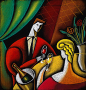 Wine Woman  Paintings - Champagne and Love by Leon Zernitsky