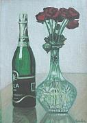 Champagne Painting Originals - Champagne and Roses by Usha Shantharam
