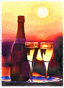Champagne Glasses Digital Art Framed Prints - Champagne at sunset Framed Print by Peter G Dobson