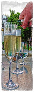 Bubbly Posters - Champagne at the Beach Poster by Joan  Minchak