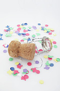 Confetti Posters - Champagne Cork And Confetti Poster by Photo Division