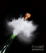 Sparkling Wine Photo Posters - Champagne Cork Popping Poster by Ted Kinsman