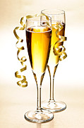 Sparkling Photo Prints - Champagne glasses Print by Elena Elisseeva