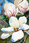 Plum Blossoms Paintings - Champagne Magnolias by Kristine Plum
