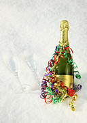 Wine Bottle Photography Framed Prints - Champagne, Streamers & Flutes In The Snow Framed Print by Rosemary Calvert