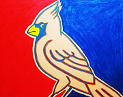 Baseball Pastels Prints - Champion Cardinal Print by Raul Martinez