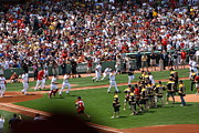 Red Sox Metal Prints - Champions Congratulating Champions Metal Print by Greg DeBeck