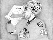 Blackhawks Drawings - Championship Goalie by Kiyana Smith