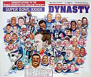 Nfl Drawings Prints - Championship Patriots Newspaper Poster Print by Dave Olsen