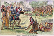 Champlain Framed Prints - Champlain Fighting Native Americans Framed Print by Granger